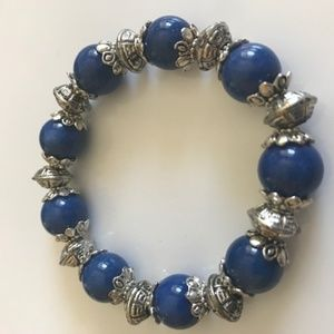 Vintage Genuine Lapis and Bali Silver Bracelet